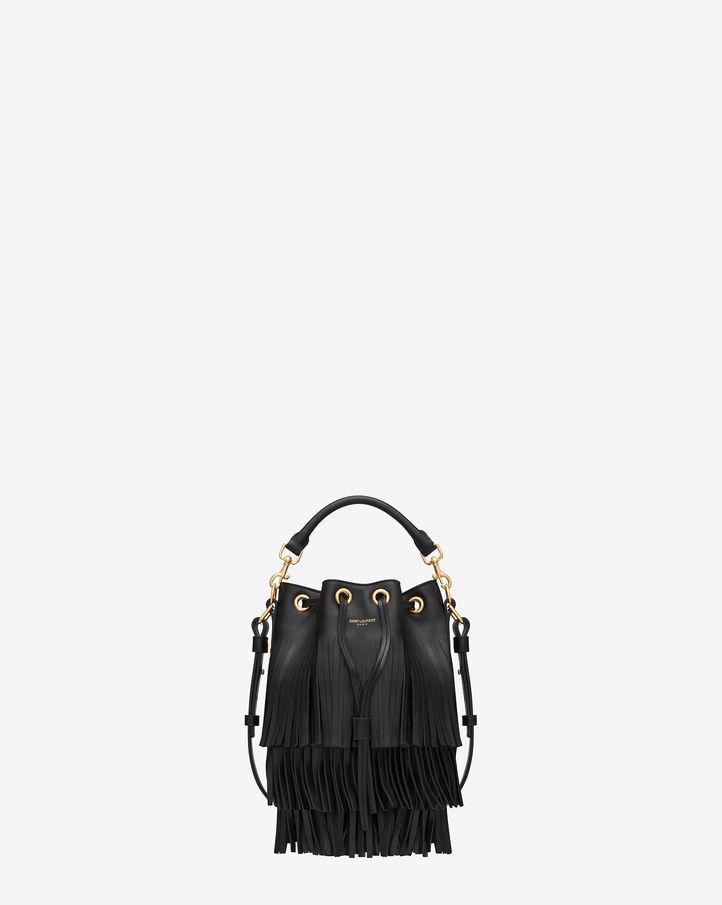 61e8e03581b YSL black fringe emmanuelle bucket bag | fashions fade | style is ...