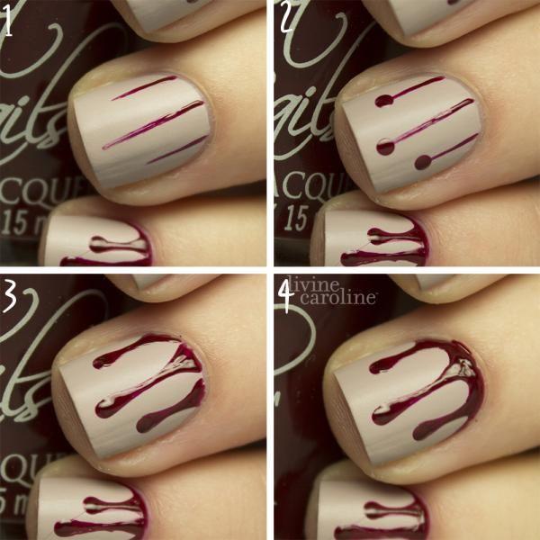 Halloween Manicure Blood Drip Nail Art Kostuum Nagel En Gelnagels