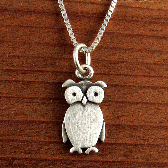 21fd58466102 Tiny owl necklace   pendant