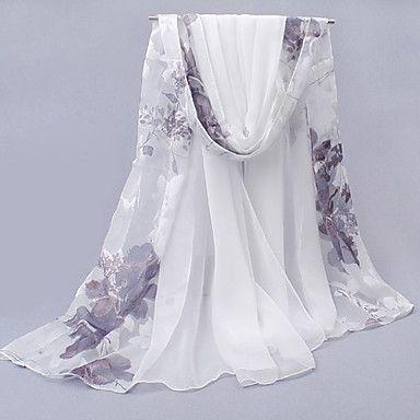 White High-quality Soft Chiffon Flower Sunscreen Long Scarf – GBP £ 6.20