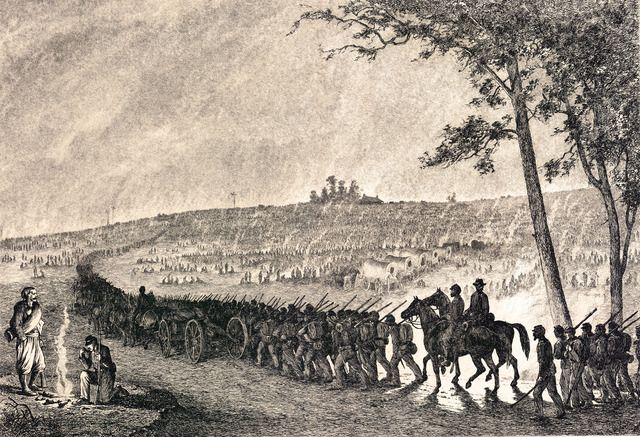 Edwin Forbes Civil War Drawings Going Into Camp At Night