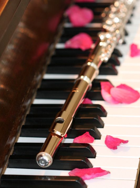 Pretty Wallpapers Rose Quotes Flute And Piano Rose Petals Instruments Music Flute