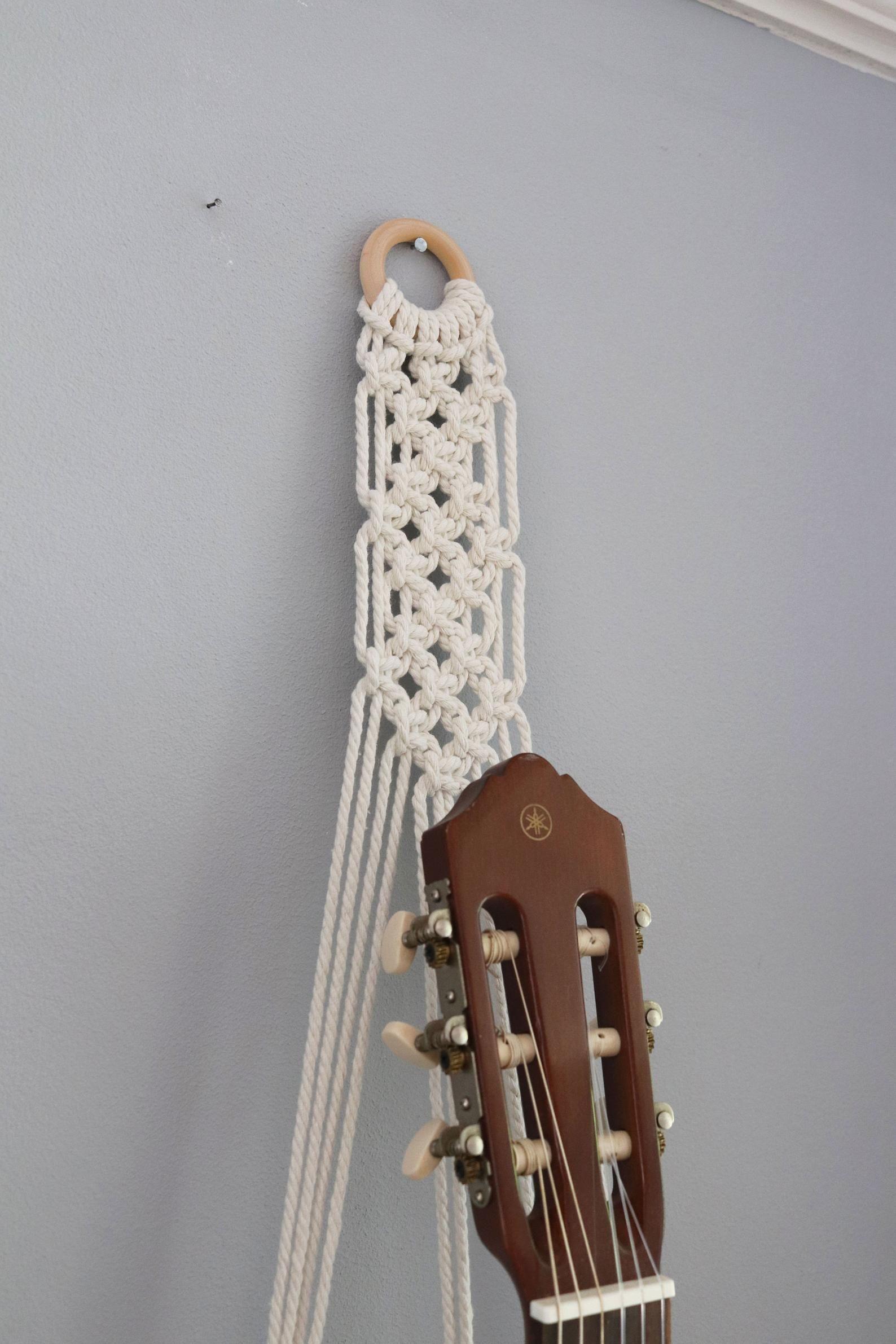 Acoustic Guitar Stand Macrame Guitar Hanger Guitar Holder Etsy Guitar Gifts Guitar Hanger Guitar Wall Hanger