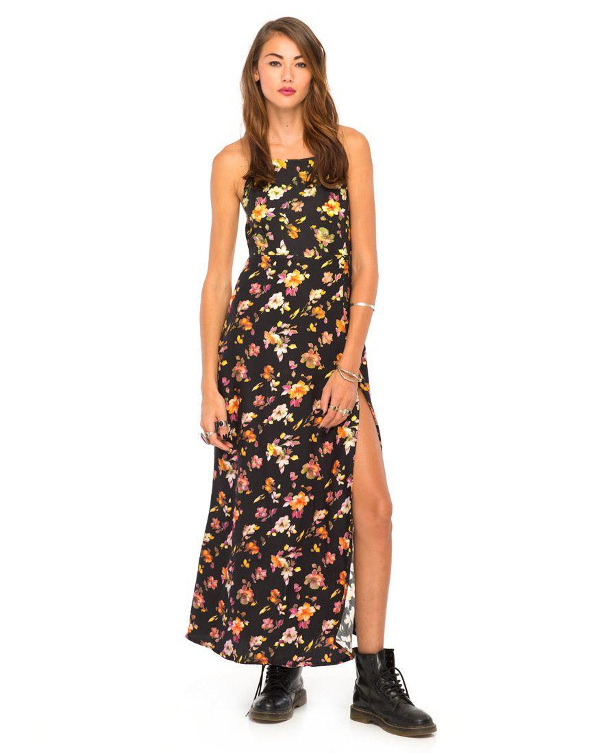 2cc8b405209 Topshop Black Floral Maxi Dress