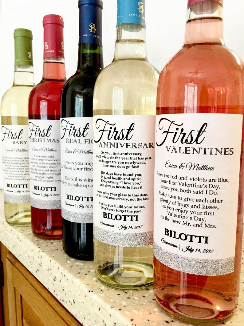 6 Bridal Shower Glitter Wine labels First Dates with