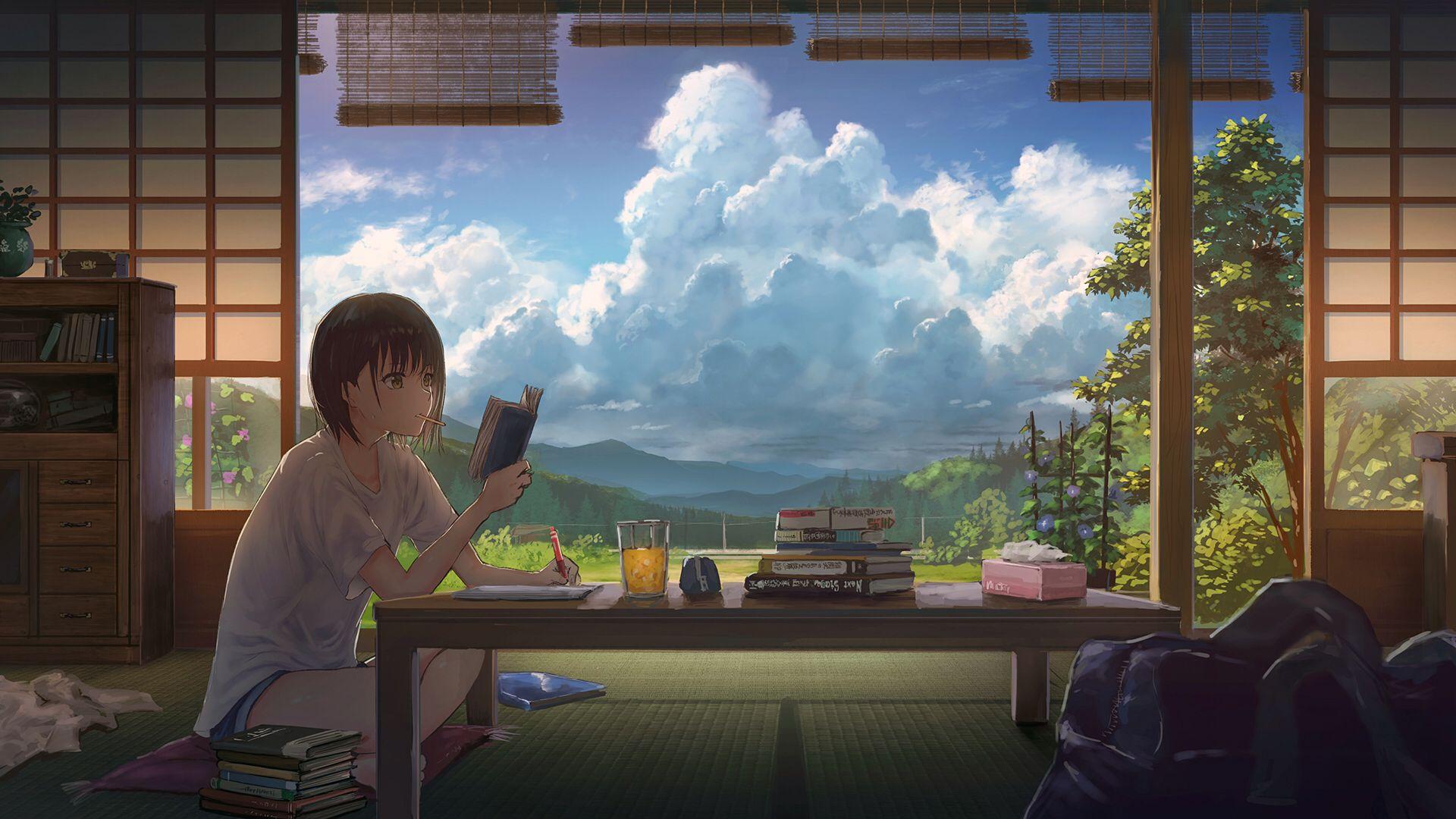 Homework [1920x1080] 芸術的アニメ少女, 夏 絵, イラスト