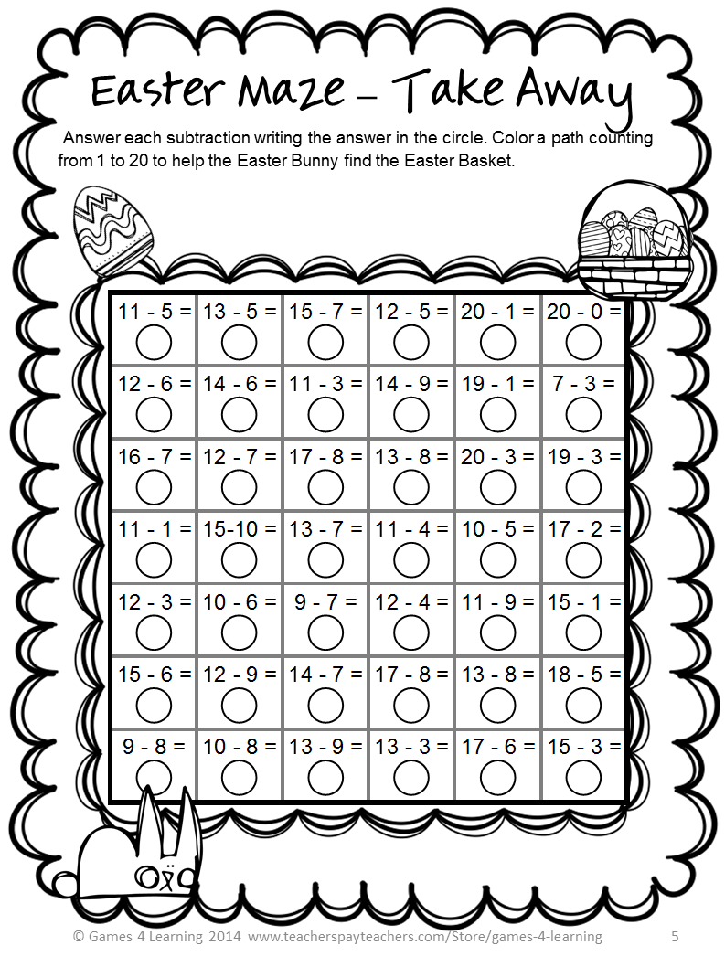 FREEBIES - Easter Math Mazes by Games 4 Learning - This is the subtraction  one.   Easter math [ 1058 x 793 Pixel ]