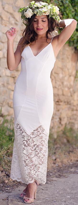 Zalando White Lace Hem Bodycon Lingerie Dress by Peeptoes