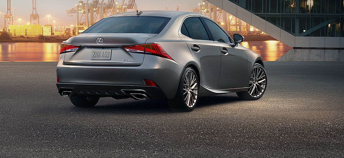 Exterior shot of the 2018 Lexus IS 300 shown in Silver