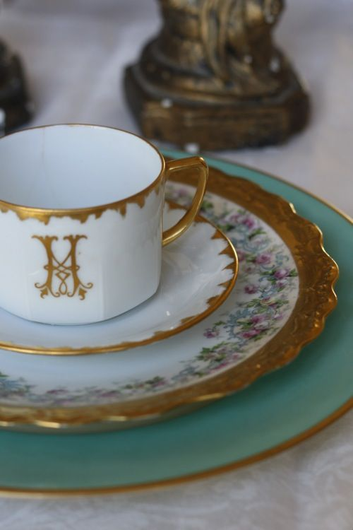 4:00 Tea... an eclectic mix of Limoges, Austrian and Aynsley China in Tiffany Blue