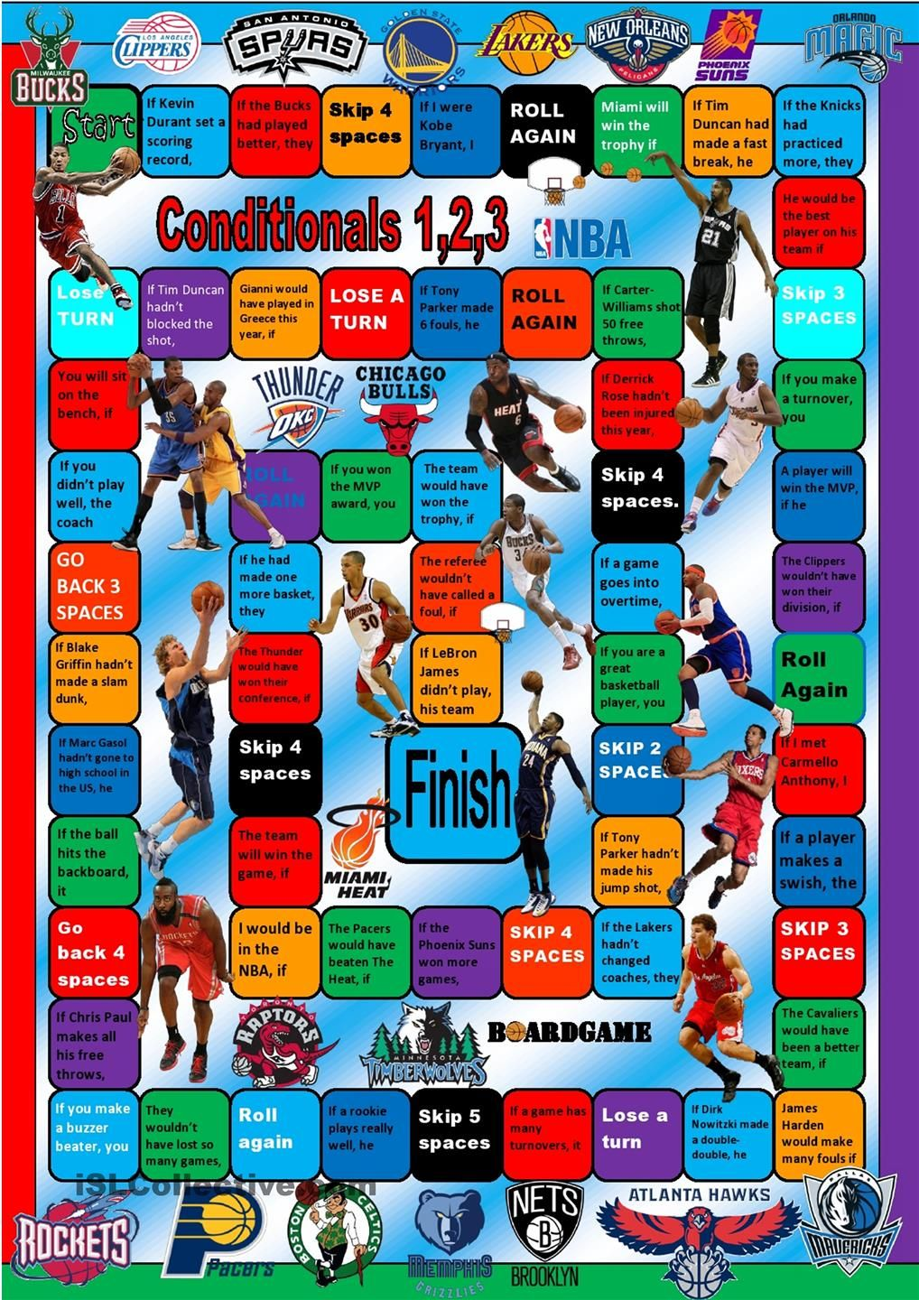 Nba Conditionals Boardgame With Images Board Games English