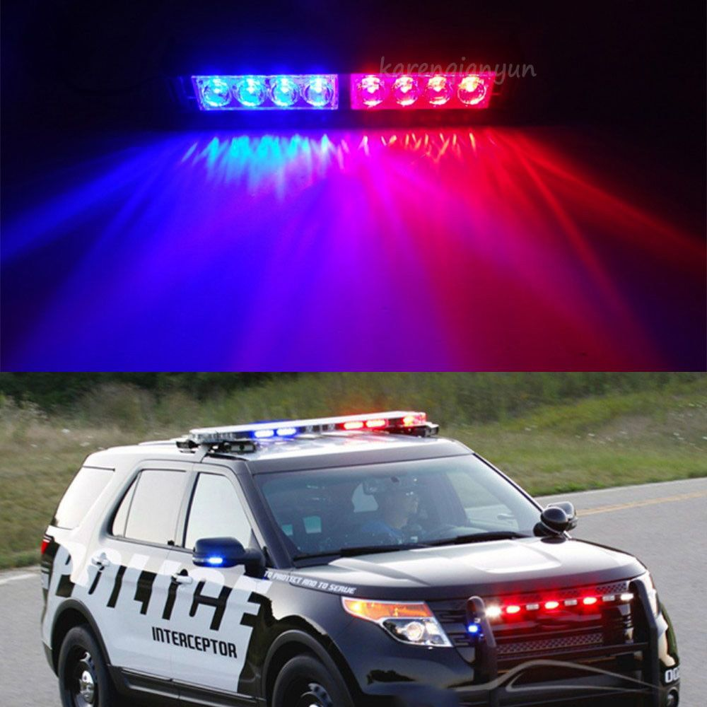 Attractive 8 LED Red Blue Car Police Dash Emergency Stobe Light Bar Warning Flashing  Lamp