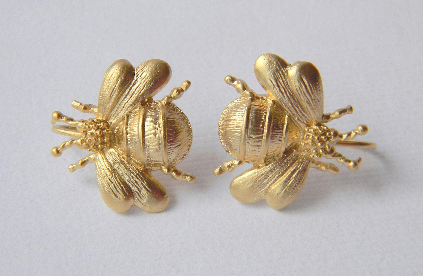 Ble Bee Earrings Gold Via Etsy