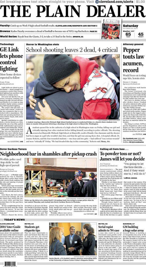 The Plain Dealer's front page for October 25, 2014 Plain