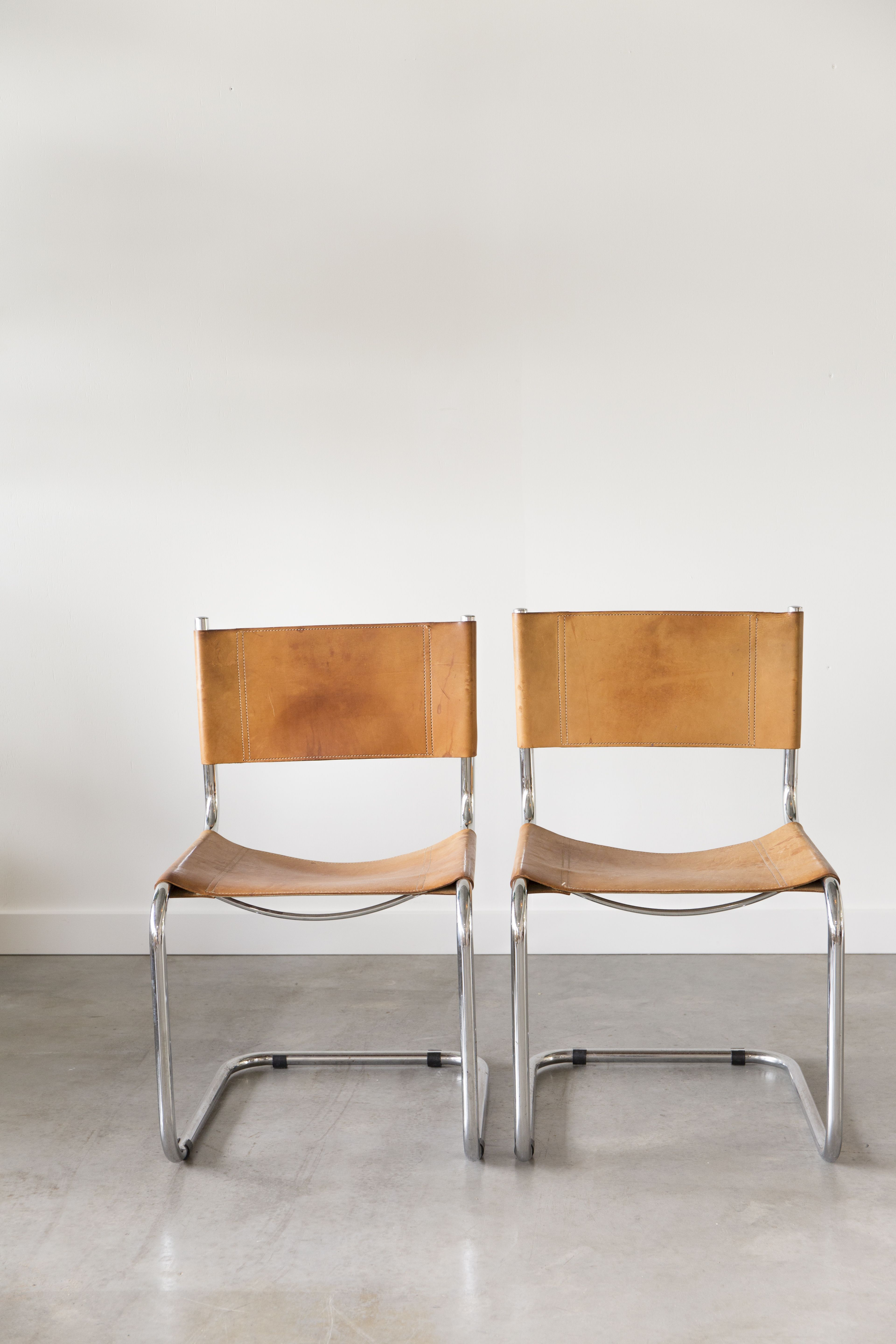 Fasem Chairs Tan Leather with Silver Details Furniture
