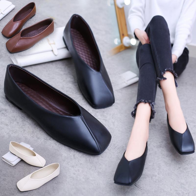 Fashion Women Square Toe Flats Leather