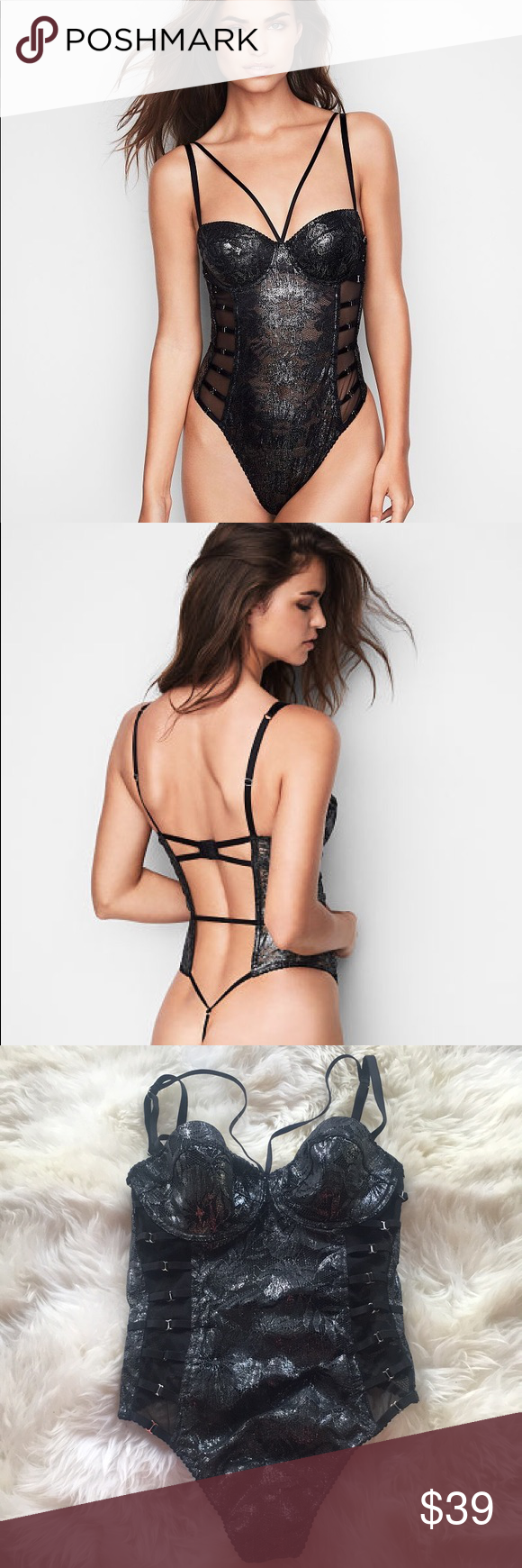 "fd537ade9a Victoria Secret Very Sexy Palm Lace Bodysuit This very sexy palm lace  bodysuit in ""black foil"" would look great in your next bundle!"