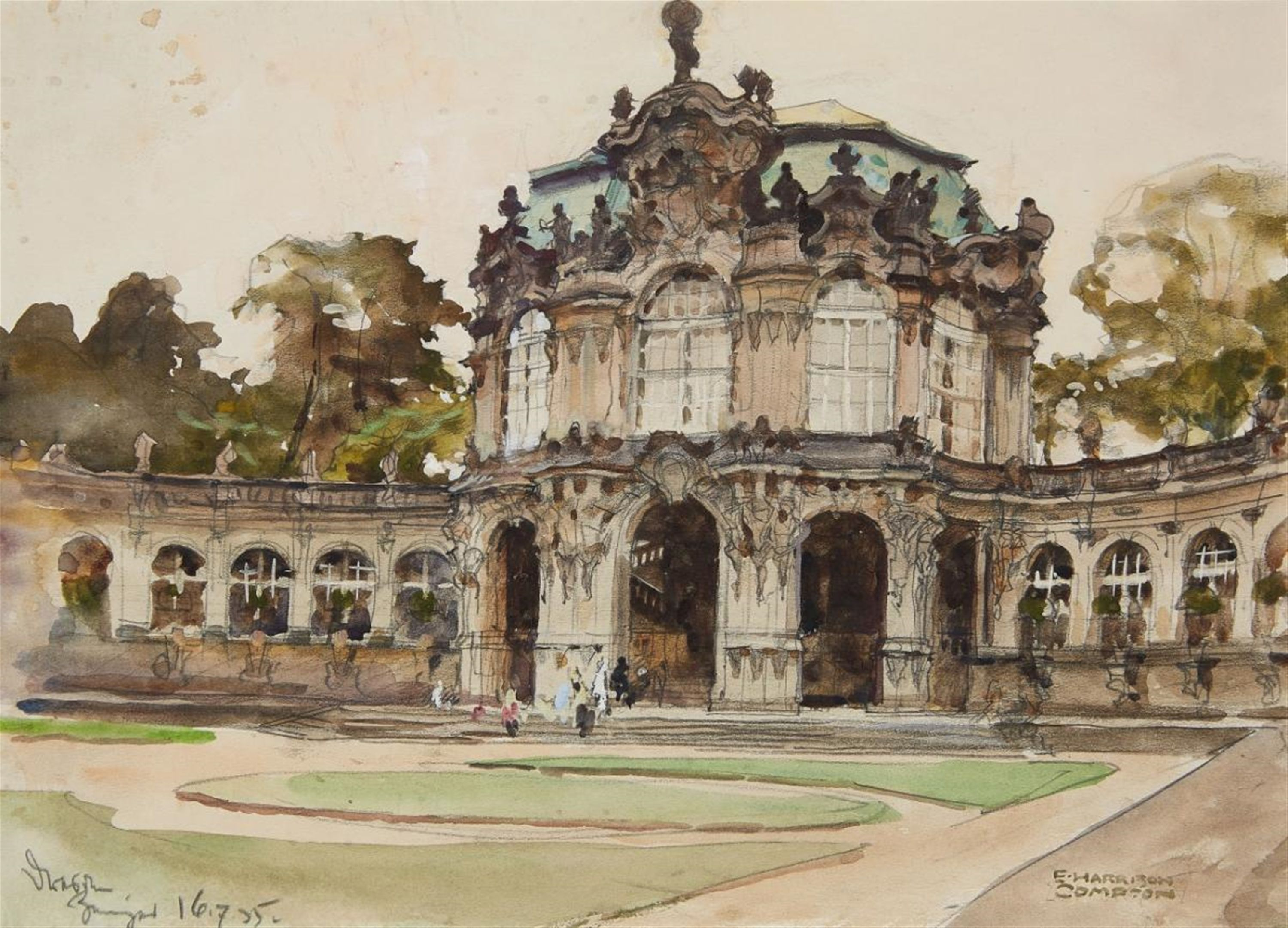E H Compton 1881 1960 The Dresden Zwinger Watercolor 3000 2162 Dresden Compton 19th Century Paintings