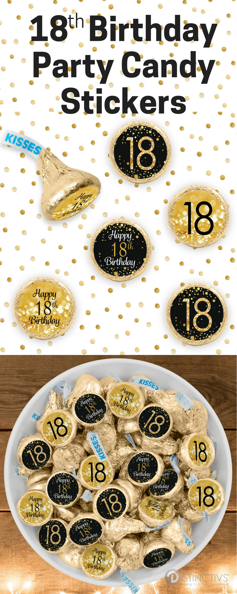 Black And Gold 18th Birthday Party Favor Stickers 324 Count