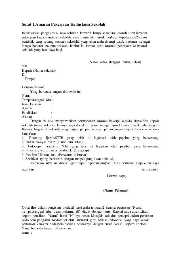 contoh surat lamaran kerja di sekolah smp contoh surat