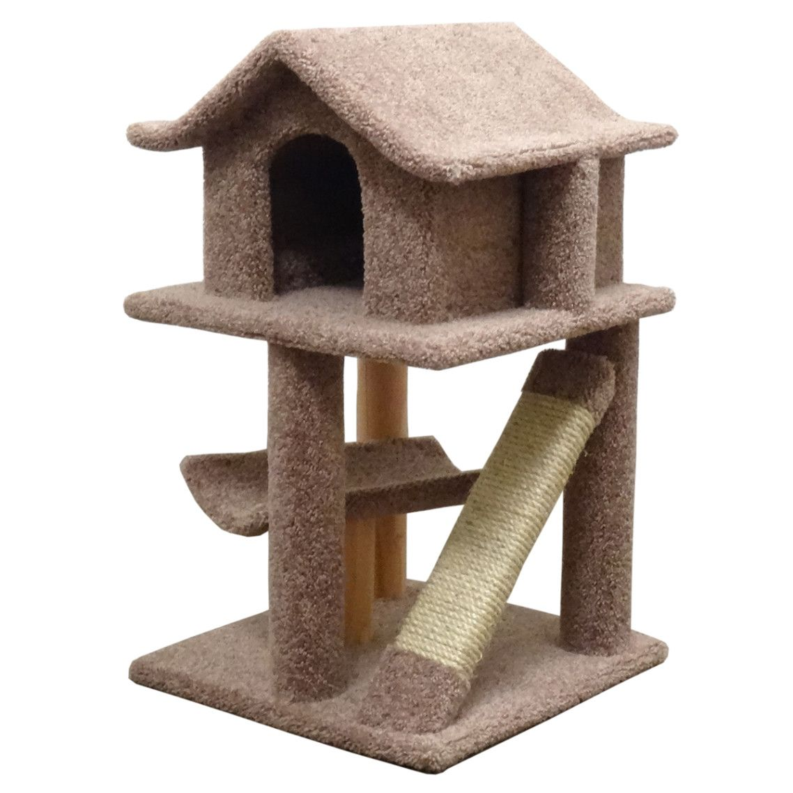Dazzling Unique Cat Tree House Design Ideas With Brown Color Pagoda Shape  Cat House And Combine
