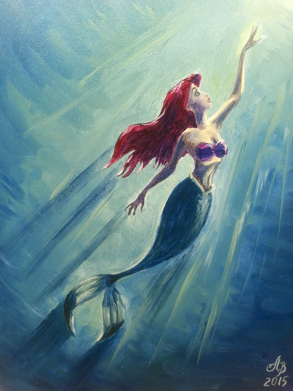 "Little Mermaid Ariel. Original Oil Painting 7""x9"" Princess Disney Handmade Colours"