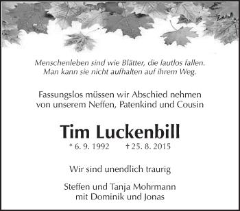 Traueranzeige Jahresgedenken Tim Luckenbill Gut Pinterest