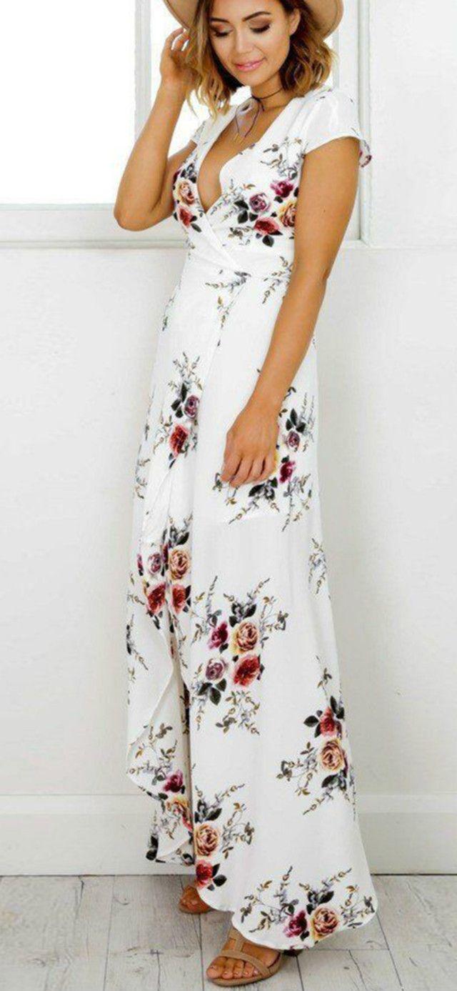 Elegant v neck short sleeve high split floral printed maxi dress