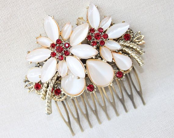 Ruby - hair comb, upcycled vintage, cream moonstones and ruby red stones, $40.00
