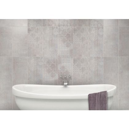 find urban damask grey ceramic wall tile 5 pack at homebase visit your local store for the widest range of paint decorating products - Bathroom Tiles Homebase