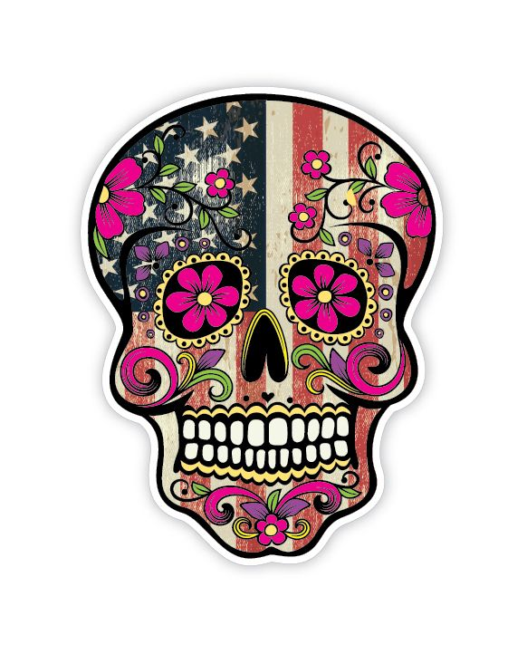 Grunge american flag detailed sugar skull sticker series 7 the mexican day of the dead calavera