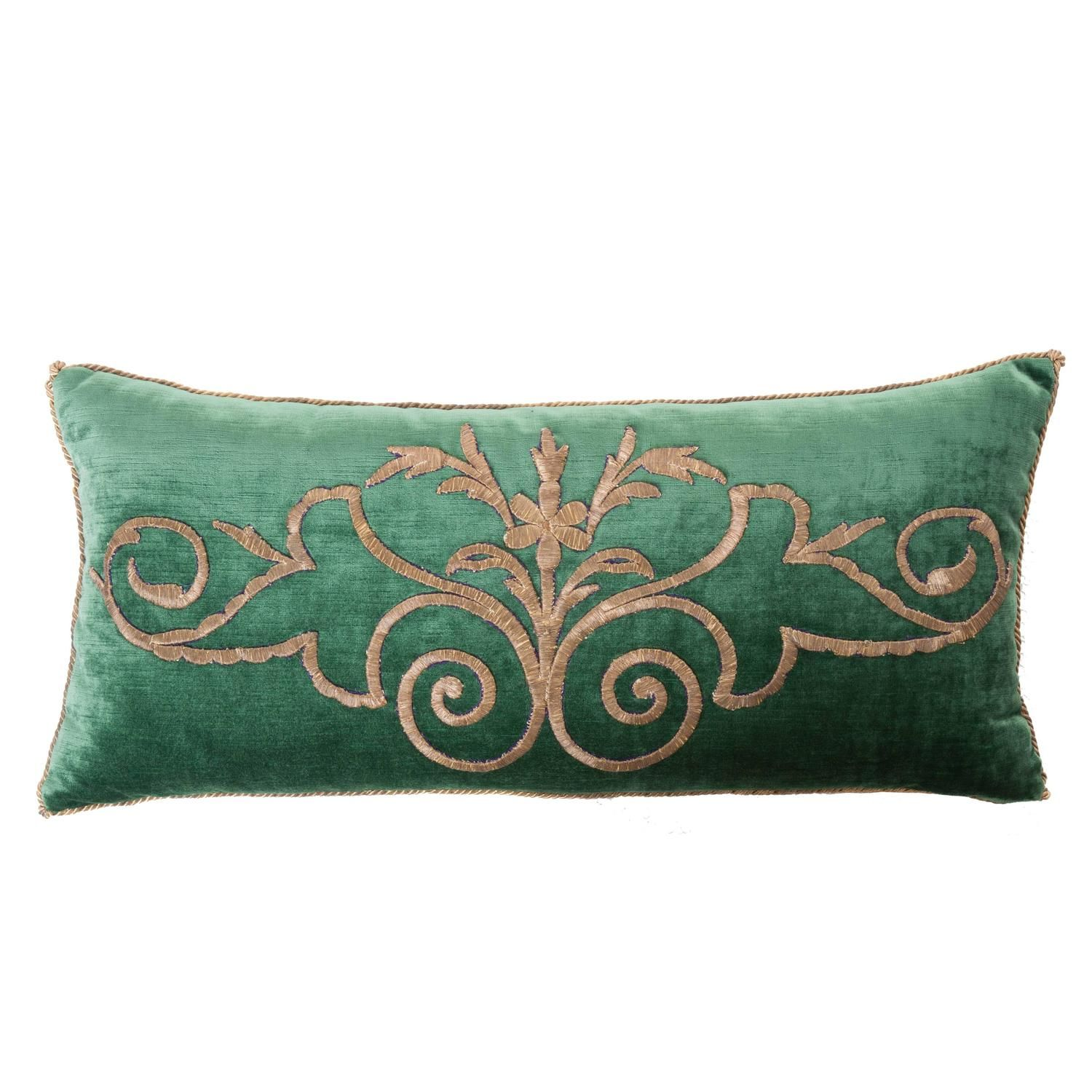 b0a3c18bc1efc Antique Ottoman Empire raised gold metallic dival embroidery on dark jade  velvet. Pillow is hand trimmed with vintage gold metallic cording knotted  in the ...