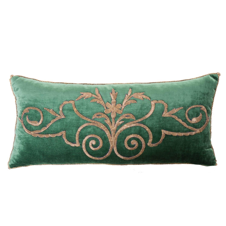 Antique Ottoman Empire raised gold metallic dival embroidery on dark jade  velvet. Pillow is hand