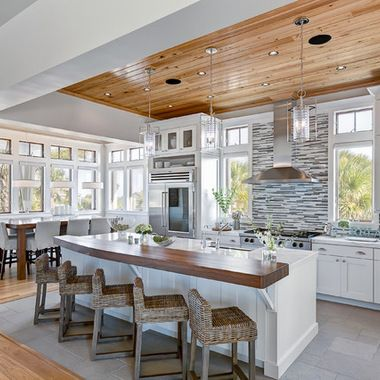 Wood ceiling in kitchen