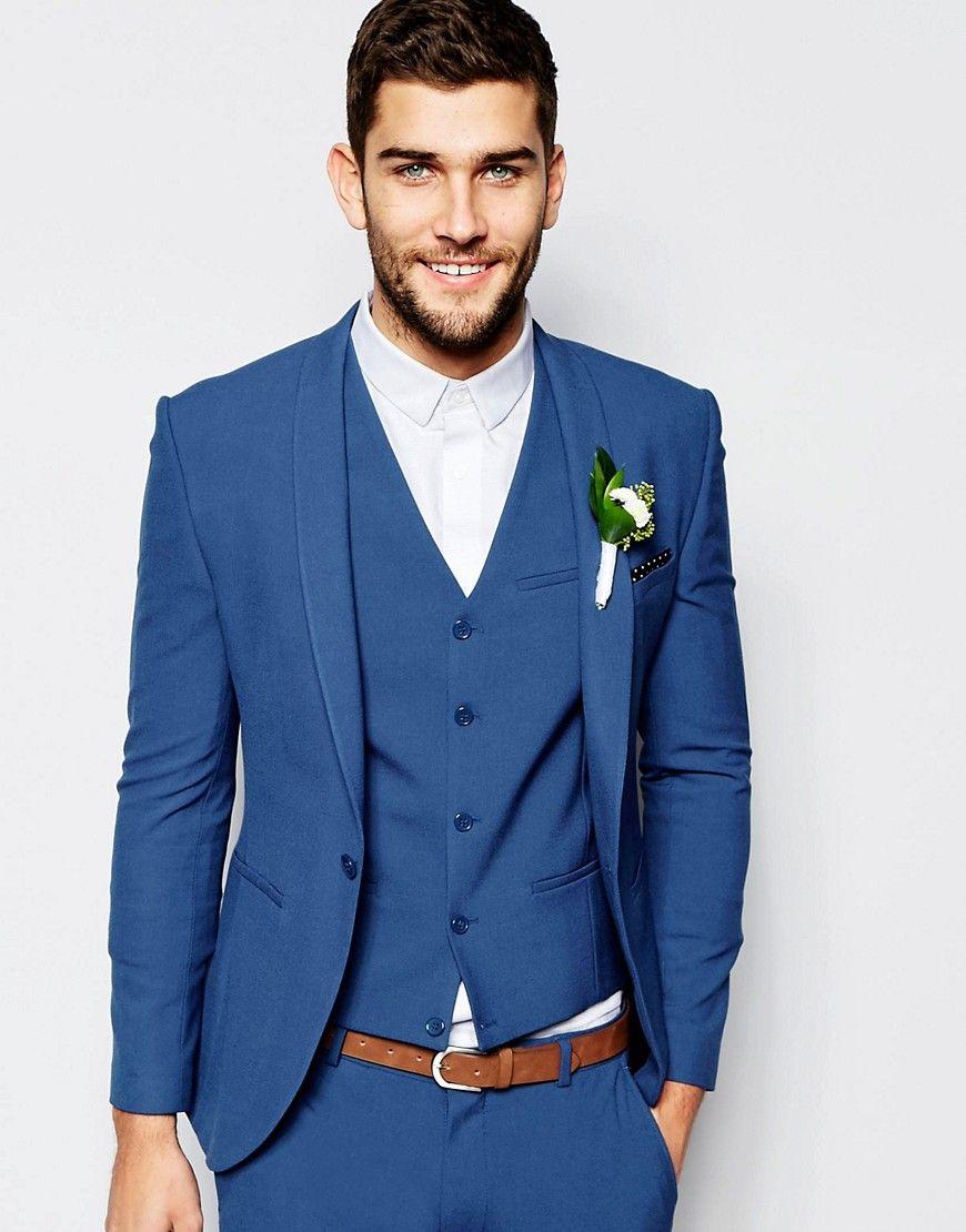 Image 1 Of Asos Wedding Super Skinny Suit Jacket In Mid Blue