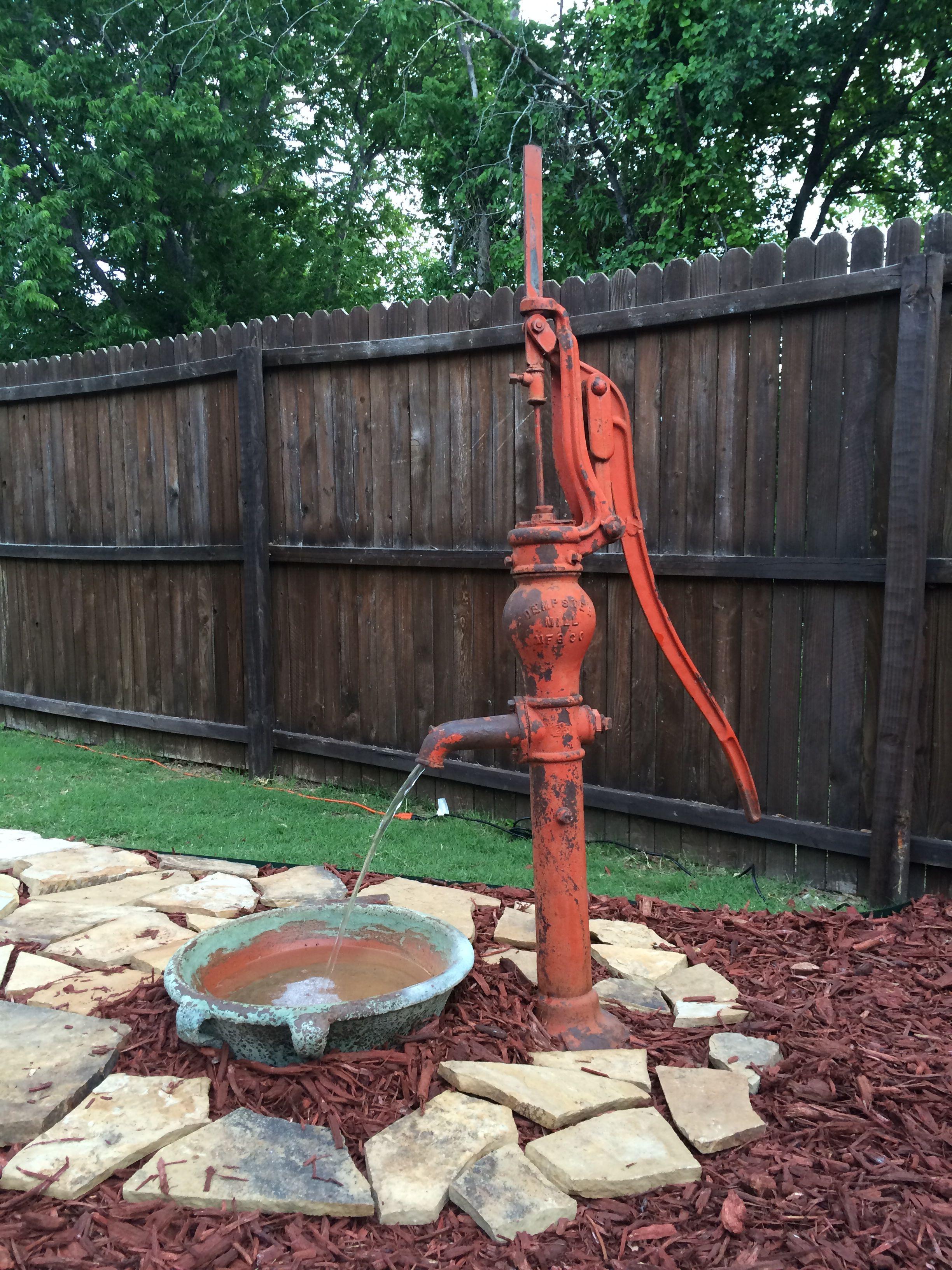 Water Pump Fountain | Old water pumps, Diy garden ...