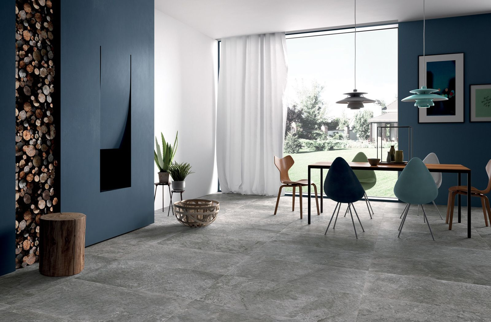 Scandinavian Charm Blue And Grey Dining Area Concept With Grey Floor Tiles From Richetti Group S Blackboard Tile Collecti Tiles Grey Floor Tiles Grey Flooring