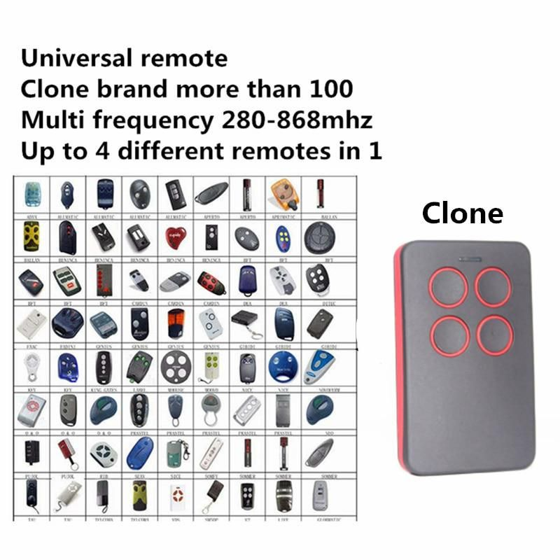 Universal Garage Remote Control 280 868mhz For Nice Faac Somfy Hormann Marantec Came Sommer Doorhan Ata Somfy Bft Command Garage Remote Garage Door Opener Remote