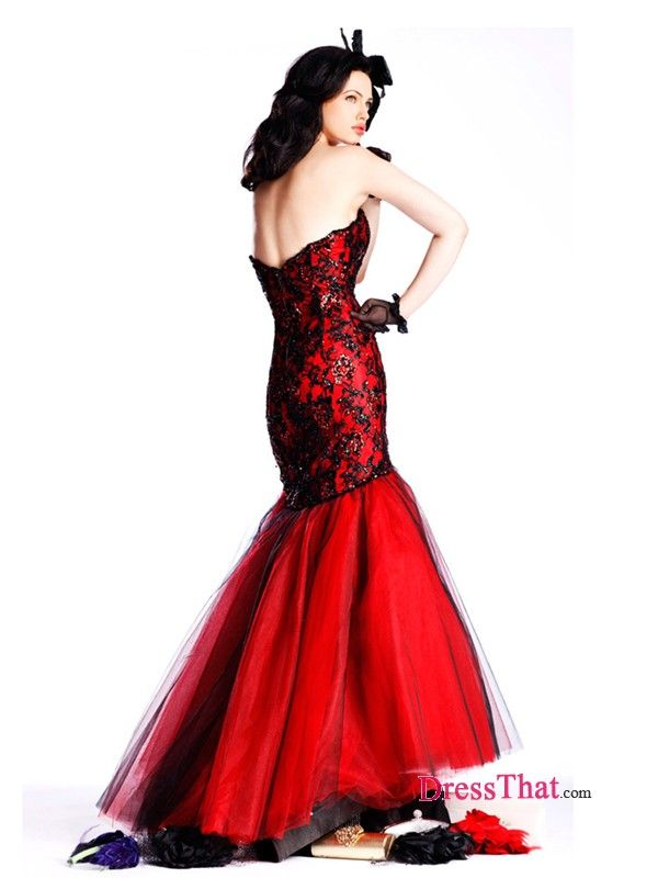 red and black mermaid prom dress - Google Search | LADY + RED ...