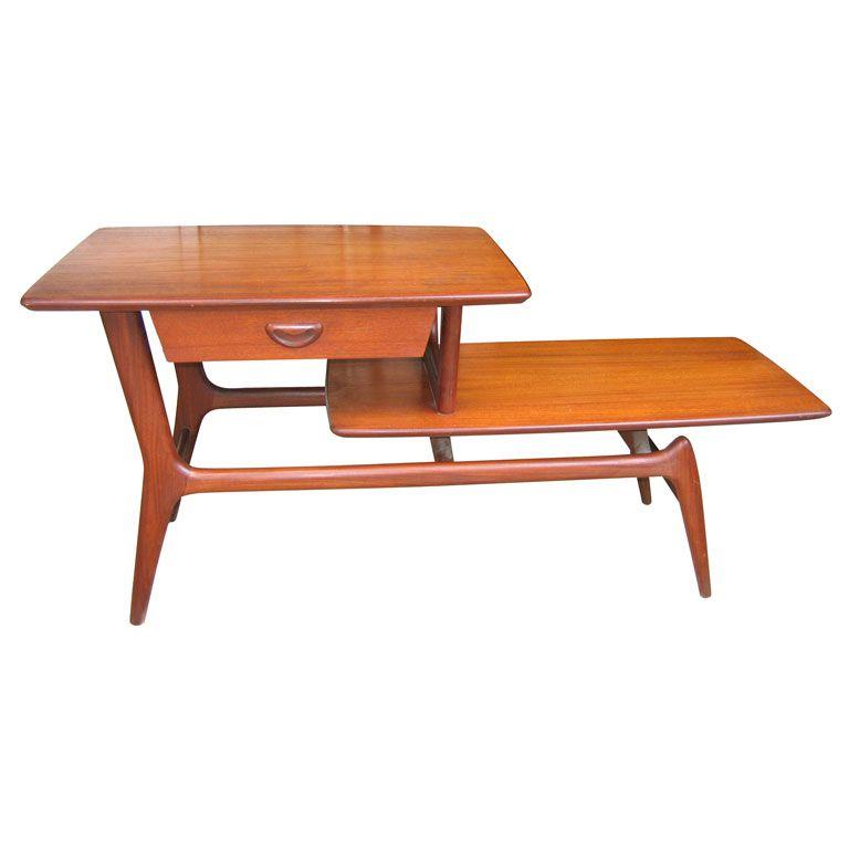 Teak Unique Coffee Table: 1960-1970 Scandinavian Teak Coffee Table By Wébé