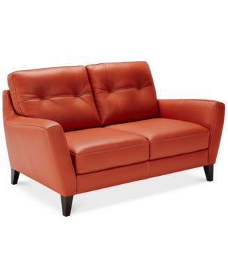 Geovany Leather Tufted Loveseat Macys