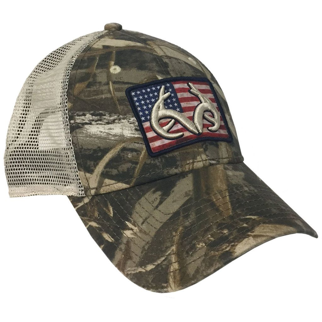 Realtree Max-5 American Flag Patch Mesh Back Hat | Men in
