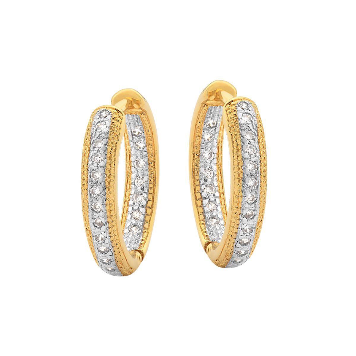 b96fccc24833f Brinco argola cravejada de zircônias internas e externas folheado a ouro  18kDimensões aproximadas Comprimento