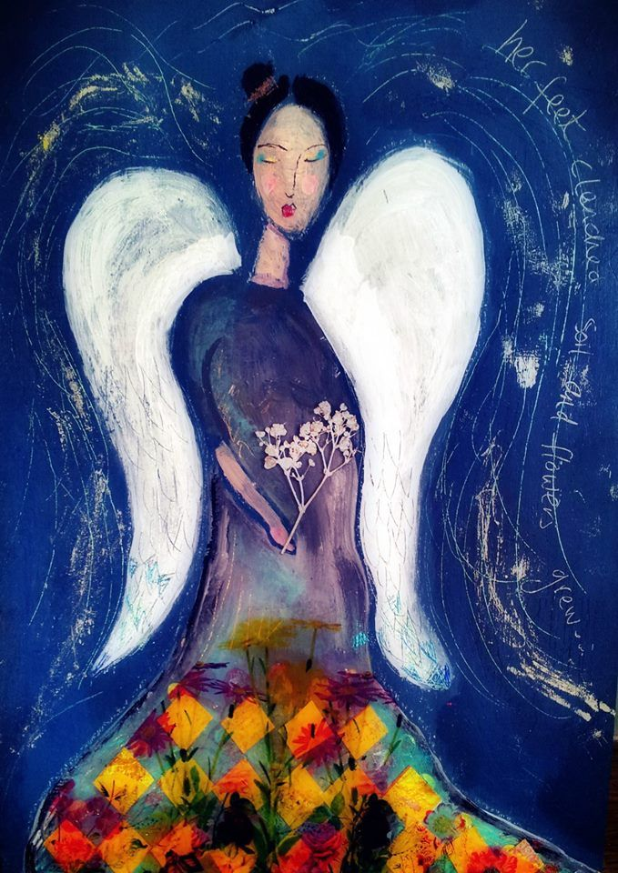 She grew flowers through her dress and wore wings in hope.
