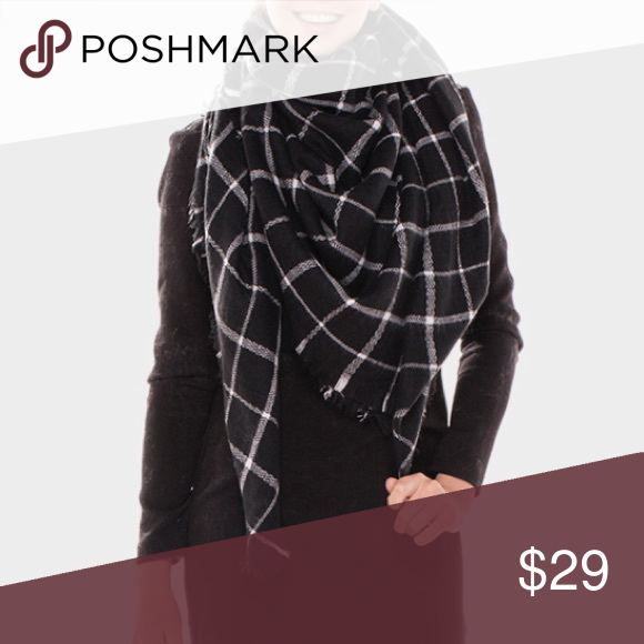 "Plaid Check Square Blanket Scarf - Black and White Acrylic. 60""W, 60""L Accessories Scarves & Wraps"