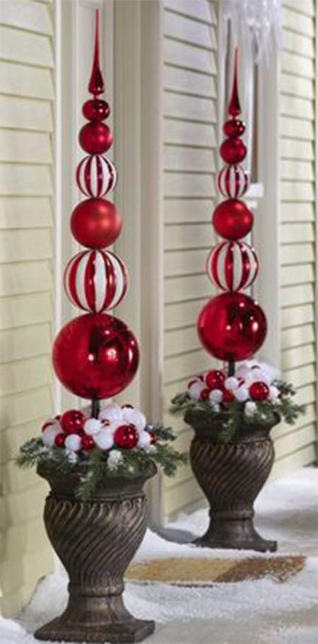 Christmas Topiary Ideas Part - 17: Christmas Stacked Ornament Ball Finial Topiary Stake Holiday Decor Red Or  Gold