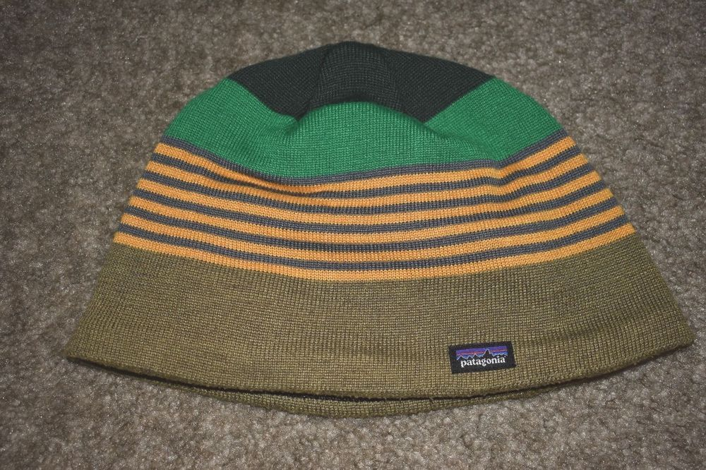 e32ba1493ba Patagonia Youth Boys Beanie Snowboarding Hat Green Yellow Size Large   Patagonia  Beanie