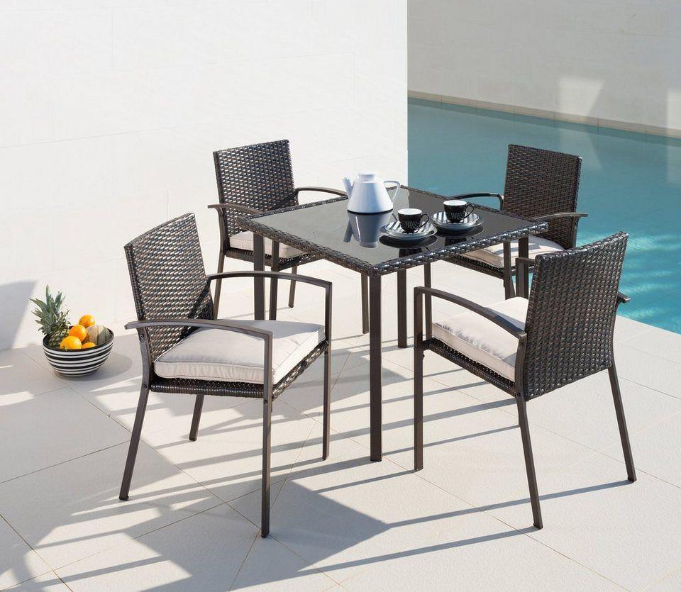 Fancy Gartenm belset Victoria Sessel Tisch x cm Polyrattan braun
