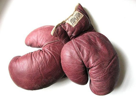 Antique Leather Boxing Gloves  Perfect for by GreySquirrelAntiques