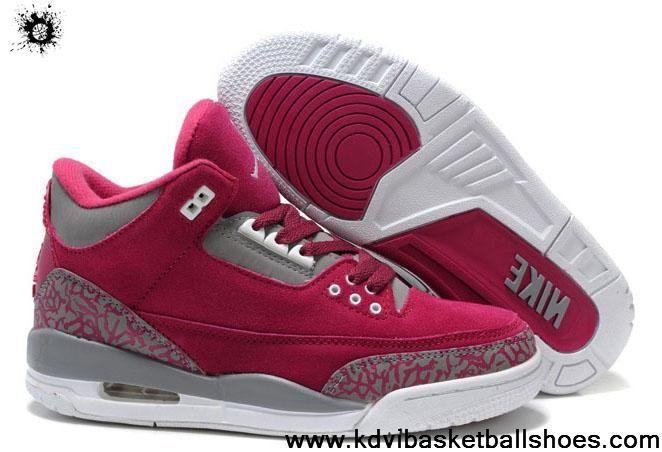 huge discount 1ef47 6bece Low Price Women Air Jordans 3 (III) Fluff Burgundy Grey White Shoes Store